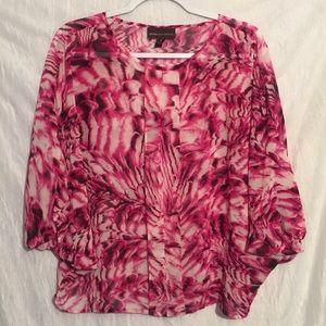 Dana Buchman pink print sheer Dolan top M